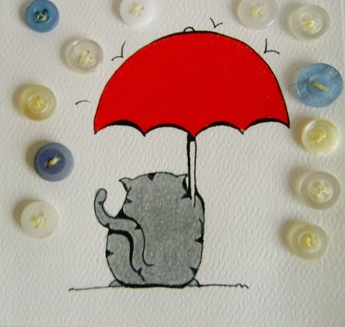 cat caught in a button-rain fall original illustration mixed media. $18.00, via Etsy.