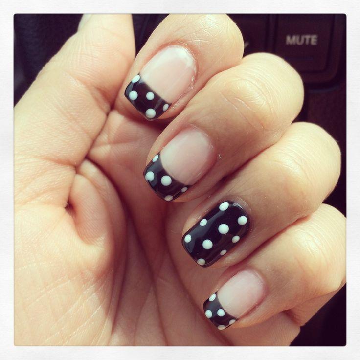 Polka dot black tip gel manicure. | I Love Nails! :) | Pinterest