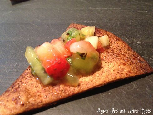 Strawberry and Kiwi Salsa with Cinnamon Tortilla Chips - Honey & Birch