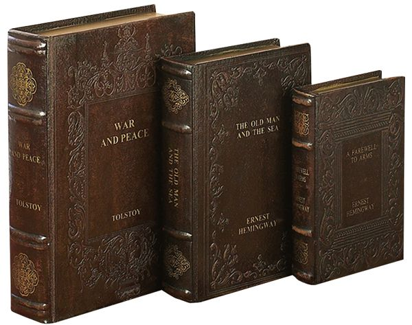 Set Tolstoy Hemingway Library Leather Faux Book Boxes