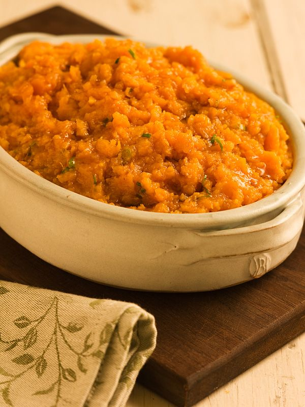 Maple Mashed Sweet Potatoes - I would substitute a bit of garlic for ...