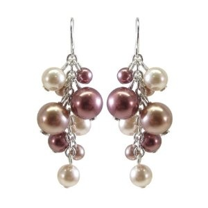 Dusty Rose, Peach and Mauve Simulated Pearl Drop Earrings $6