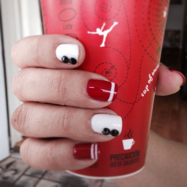 Red and white nail art | Nails | Pinterest