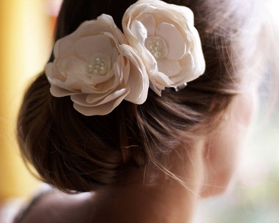 Wedding Flower Hair Piece  Double Flower Bridal Hair by Florentes, $42.00