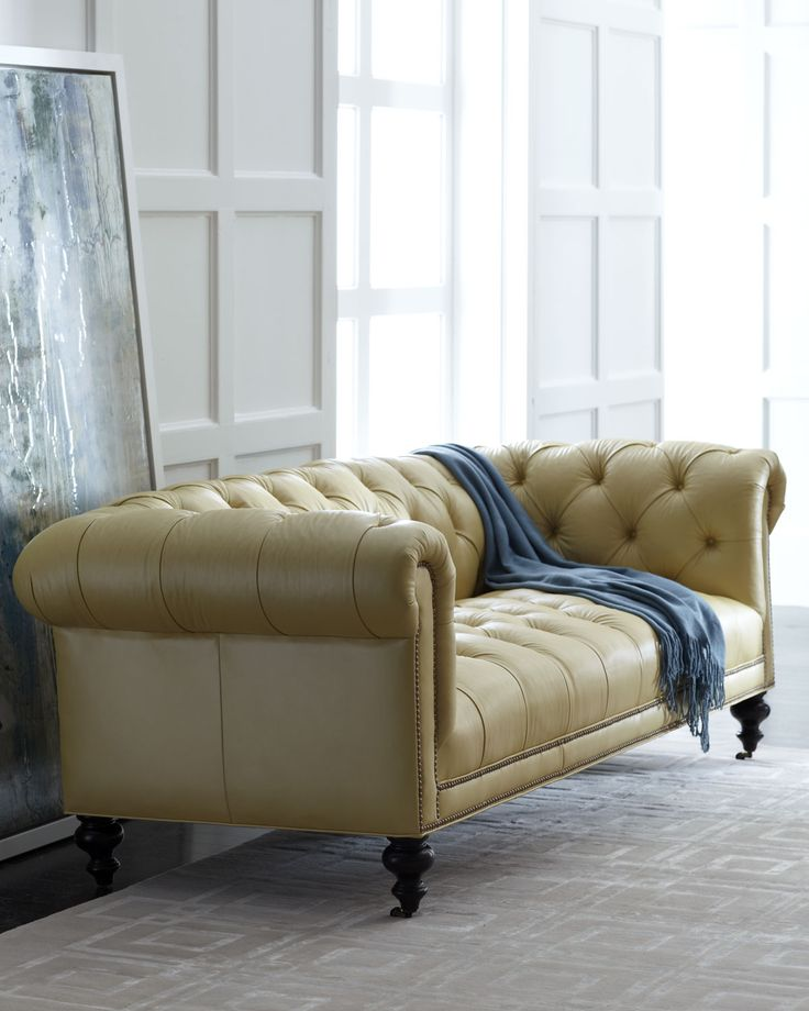 Old Hickory Tannery Lenoir Yellow Sofa: Old Hickory Tannery Fenway Tufted Leather Sofa