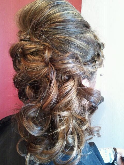 side sweep with braid and curls   Homecoming/Prom Hair   Pinterest
