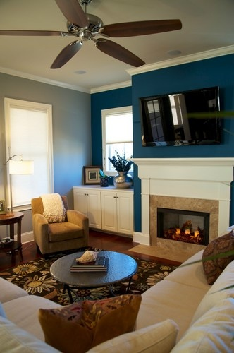 living room blue accent wall casa