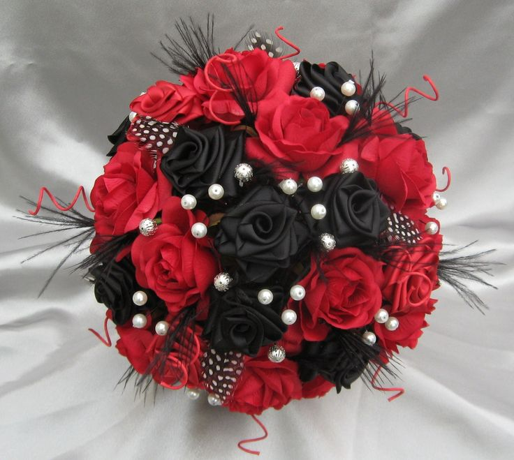 Wedding Bouquets Red And Black : Harlequin black red and white luxury bridal bouquet