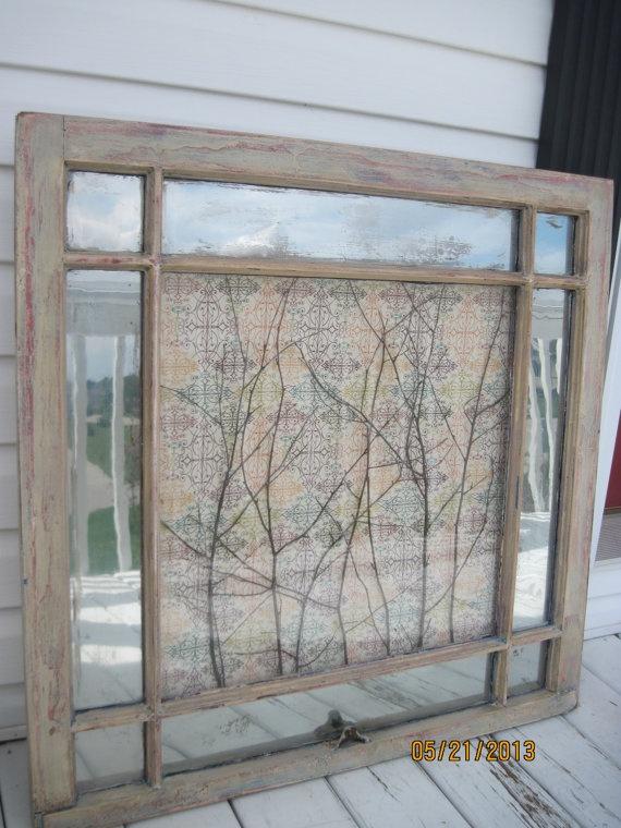 Old window decor mirror reclaimed mercury glass art wall for Using old windows as wall decor