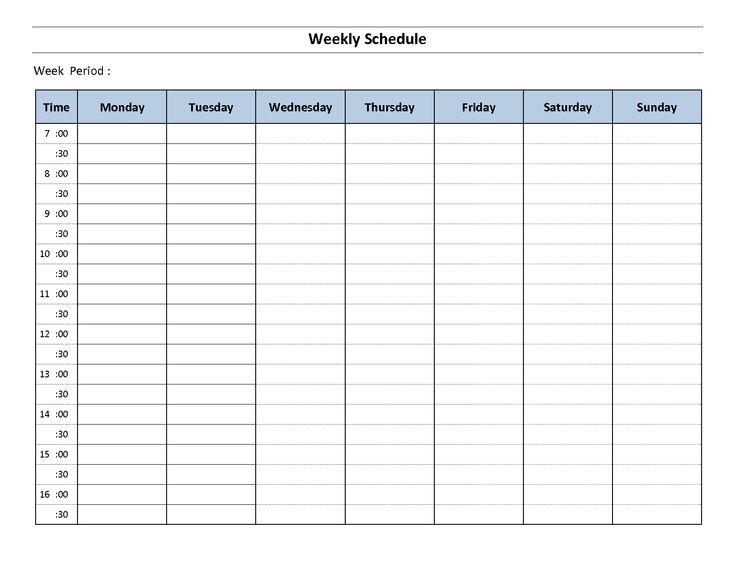 printable weekly work schedule template .