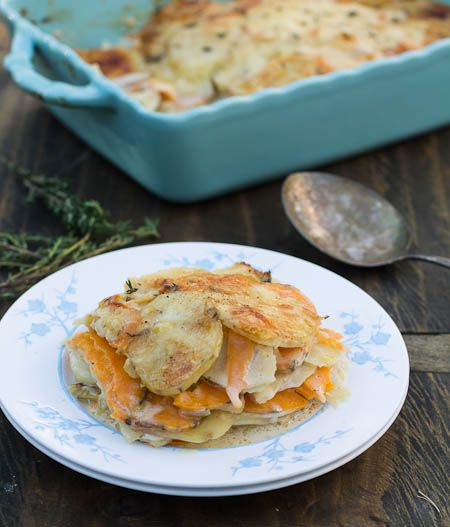 Onion and Potato Gratin. Made with a mix of russet and sweet potatoes ...
