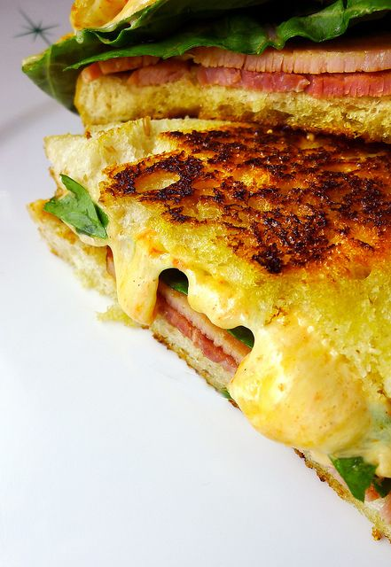 grilled pimento cheese sandwich with country ham and arugula on ...