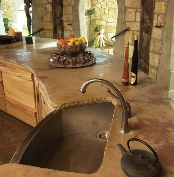 Concrete countertops and copper sink dream home pinterest for Outdoor kitchen counter with sink