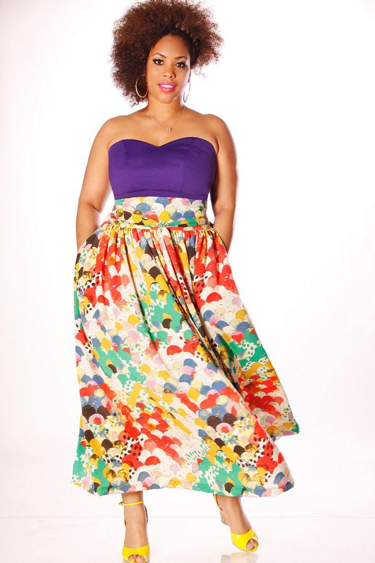 jibri plus size high waist printed maxi skirt attached