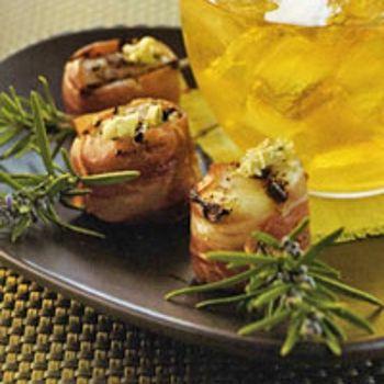 Prosciutto Scallop Pops with Lemon Artichoke Pesto
