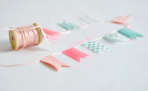 DIY washi tape garland, pennant bunting #party