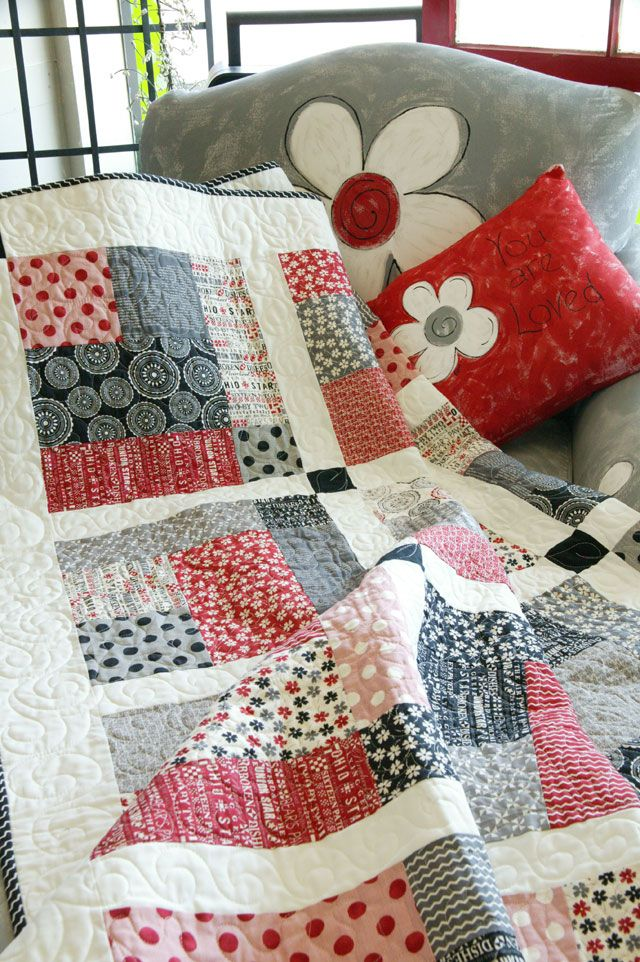 This modern quilt from Kimberly Jolly for It's Sew Emma uses the Mama Said Sew collection by Sweetwater for Moda. Big enough to use on the bed, Sew Little Time is a one-block project you'll be able to whip up with ease.