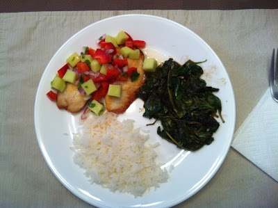Dairy Free Tilapia with Mango Salsa served with Balsamic Spinach and ...