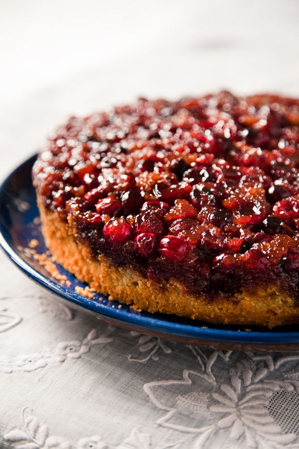 Cranberry Cornmeal Upside-Down Cake. Just bought first cranberries of ...