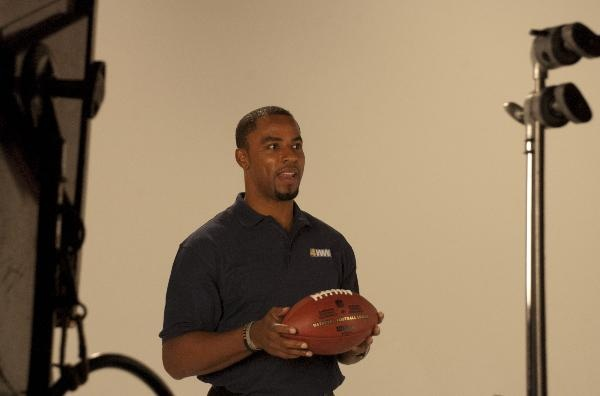 Darren Sharper in studio prepping to join the Eyewitness Sports team. Follow the link to see more pics!