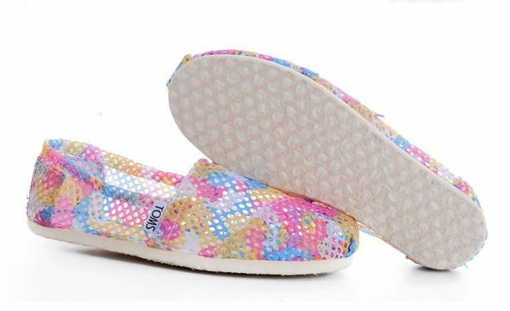 Toms Summer Pink Mesh Hollow Out Womens Shoes 7.5 ~ super cute for