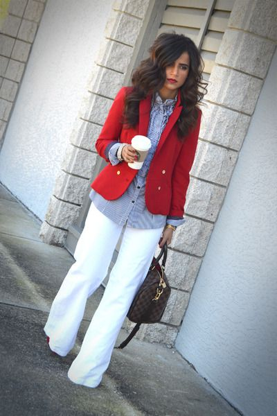 WHITE WIDE LEG PANTS, Chambray blouse, red blazer