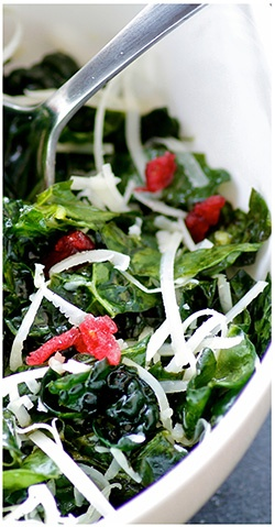 TouVelle and Kale Salad with Dried Cranberries