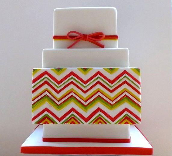 Colorful Chevron Square Tiered Cake