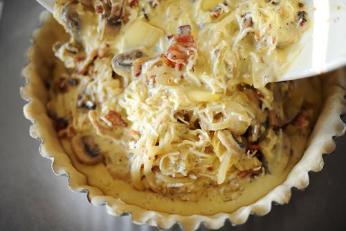 Pioneer Woman's quiche with bacon, onion, mushroom, artichoke, and ...