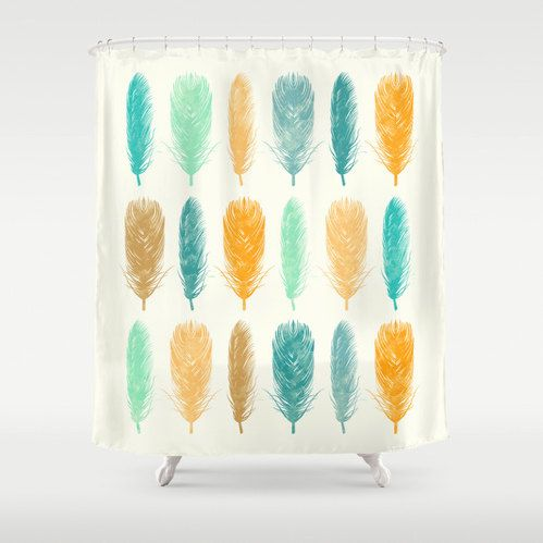 Feathers Shower Curtain Yellow Sea Green Teal Orange