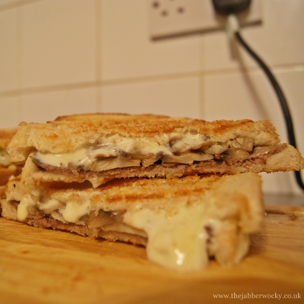 Roast beef, mushroom and Stilton Pâté grilled cheese toastie.