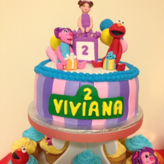 """Sesame Street, Elmo & Abby, 2nd birthday cake. 8"""" red velvet with ..."""