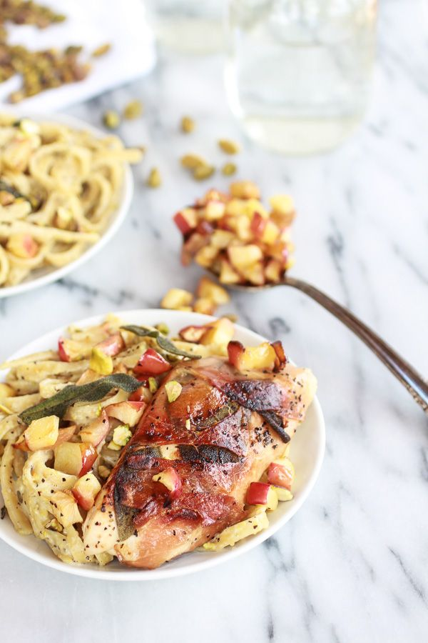 Crispy Prosciutto and Sage Wrapped Chicken with Creamy Pistachio Nood ...