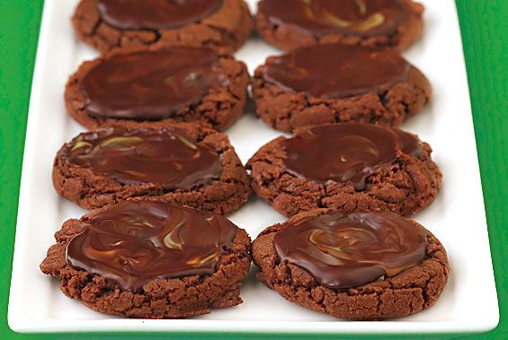 chocolate mint puddle cookies