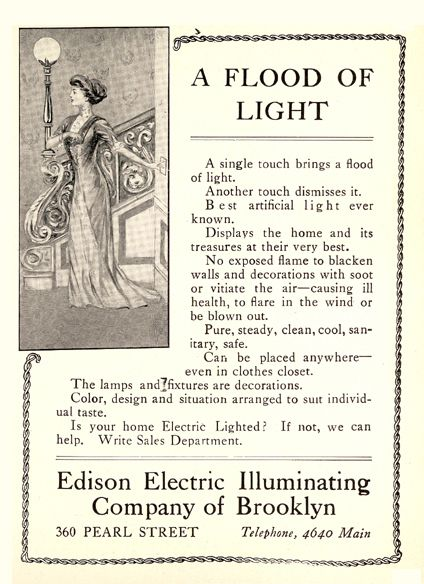 Advertisement for Edison Electric Illuminating Company of Brooklyn, at the time of the Hudson-Fulton Celebration. Printed in the Brooklyn Institute of Arts and Sciences Bulletin, Volume 3, no. 16, December 25, 1909.