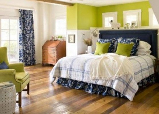 Blue And White Bedding With Green Walls For The Home Pinterest