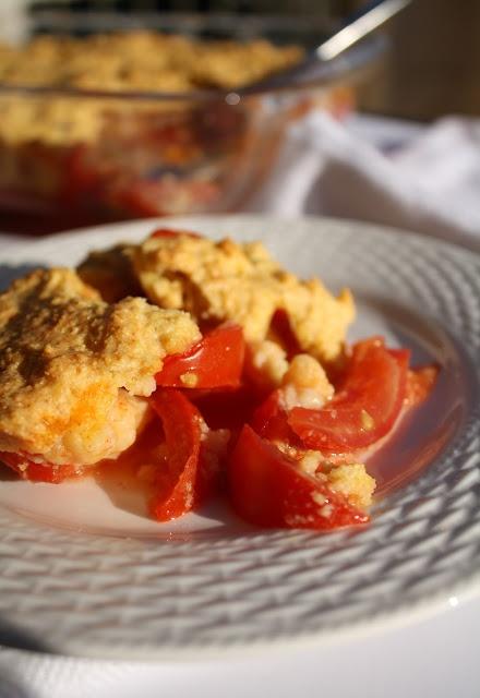 tomato cobbler (tomato, cornmeal, buttermilk)