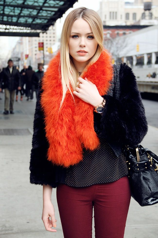 blood orange faux fur scarf | Style | Pinterest