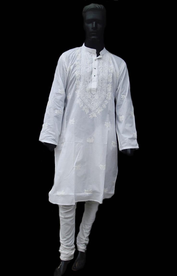 White Mens Long Kurta Shirt Salwar Holiday Gift Handmade Embroidered ...