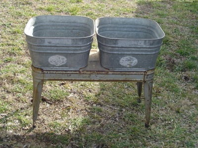 ... Wheeling Double WASH TUBS galvanized with stand vintage Local Pickup