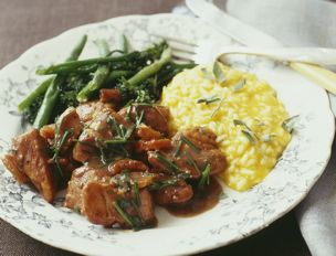 Herb Apricot Chicken, Butternut Squash Risotto, Roast Broccolini and ...