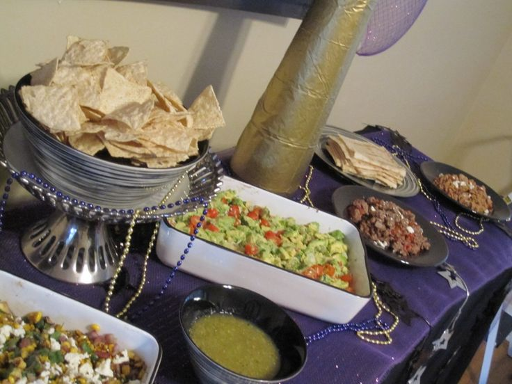 Super Bowl Taco Bar. Appetizers of charred corn and zucchini salsa ...