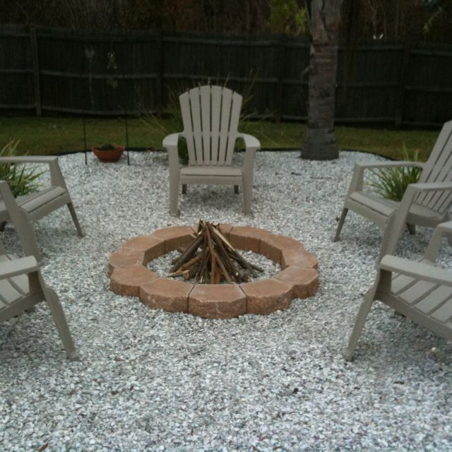 Firepit Simple Easy Crushed Shell Base Out Back
