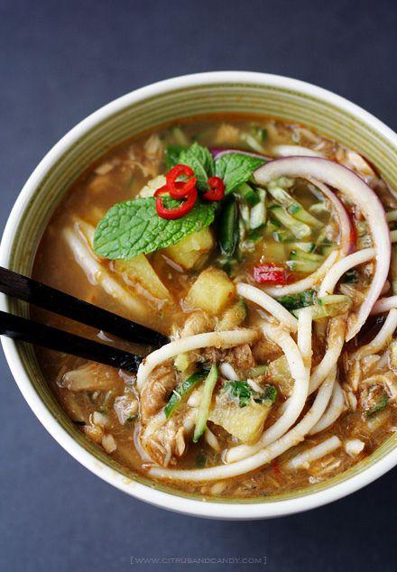 Penang Assam Laksa Recipe (Nyonya Hot And Sour Noodles In ...