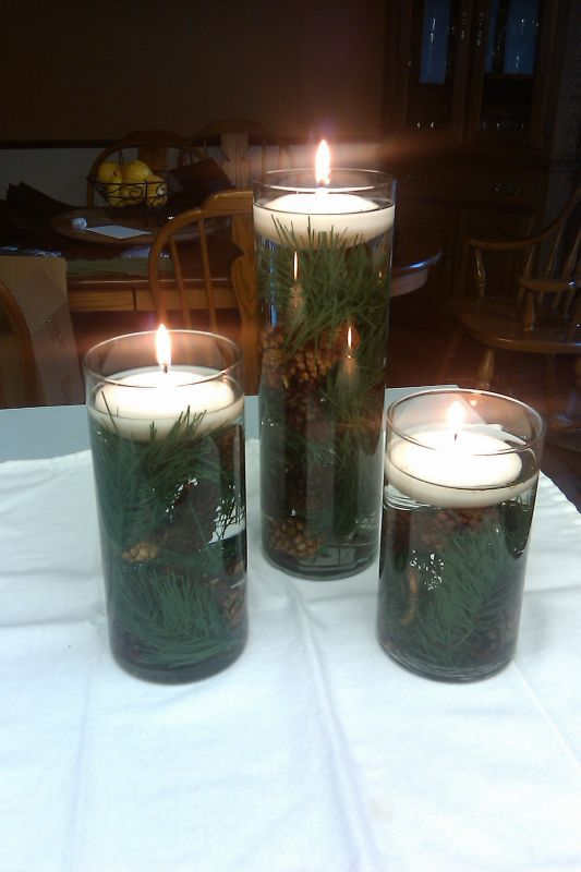 Pine cones in water centerpiece holiday ideas pinterest for Pinecone centerpieces