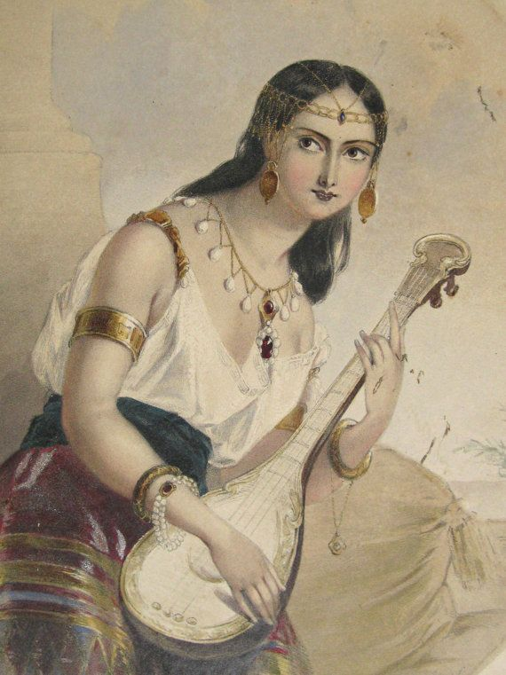 ... Antique 1837 Orientalist Lithograph Lalla Rookh by Eyeworth, $40.00