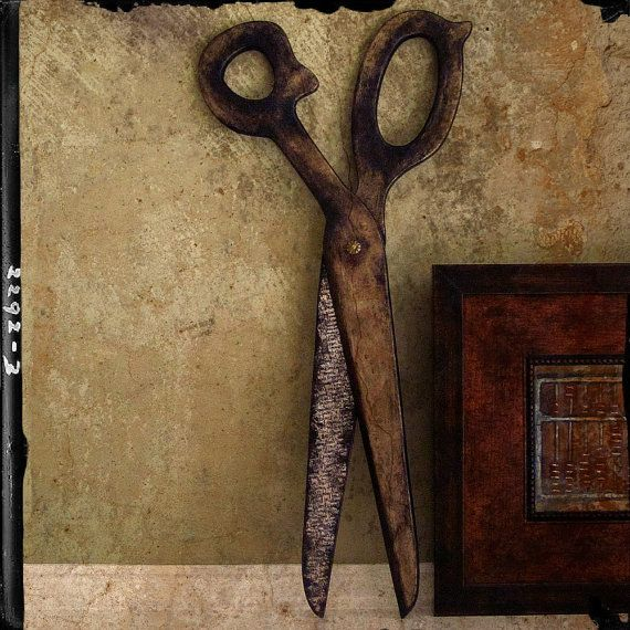 Large Scissors Wall Decor : Big quot scribble rustic scissors decorative wall art made to