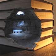 Carved book landscapes.