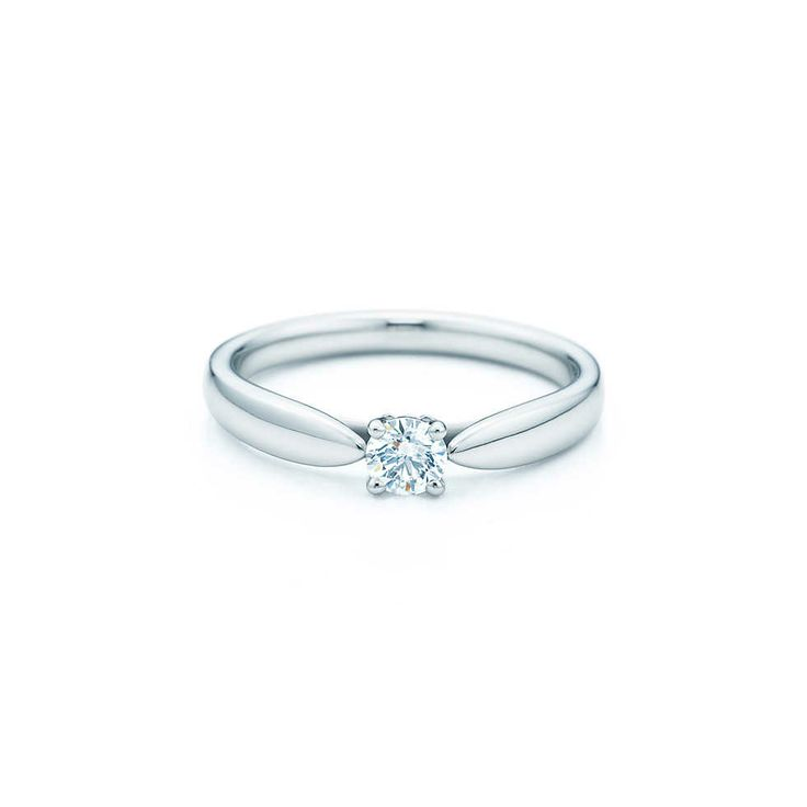 "Tiffany Harmonyâ""¢ ring in platinum with a round brilliant diamond. It ..."