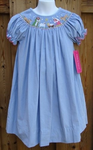 NWT 3 3T Claire & Charlie Smocked Corduroy Dress Blue Holiday Christmas $39.99.  Bargain!